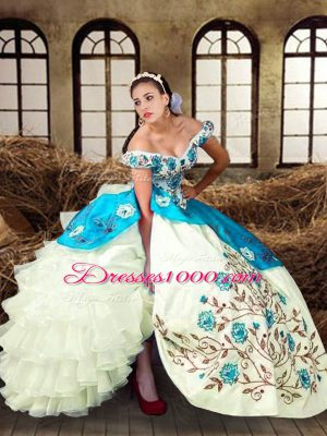 Sleeveless Taffeta Floor Length Lace Up Quince Ball Gowns in Multi-color with Embroidery and Ruffled Layers