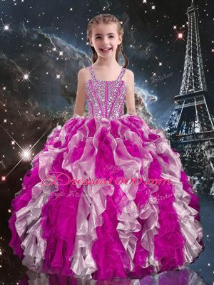 Best Straps Sleeveless Lace Up Kids Pageant Dress Fuchsia Organza