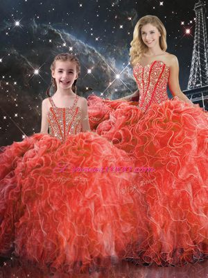 Coral Red Sleeveless Beading and Ruffles Floor Length 15 Quinceanera Dress