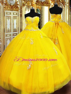 Sophisticated Gold Lace Up Vestidos de Quinceanera Beading and Appliques Sleeveless Floor Length