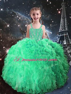 Custom Designed Apple Green Straps Neckline Beading and Ruffles Girls Pageant Dresses Sleeveless Lace Up