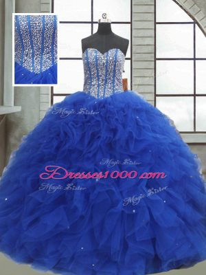 Flirting Sleeveless Lace Up Floor Length Beading and Ruffles and Sequins Quinceanera Gowns