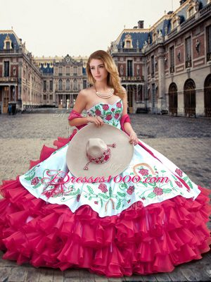 Luxurious Hot Pink Ball Gowns Sweetheart Sleeveless Organza Floor Length  Lace Up Embroidery and Ruffled Layers 155912d264bc