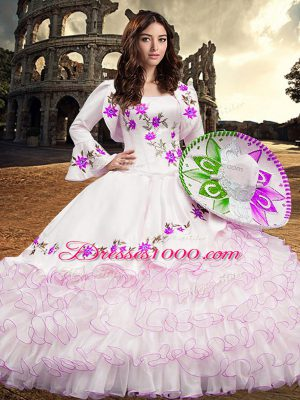 Unique White Long Sleeves Embroidery and Ruffled Layers Floor Length Sweet 16 Quinceanera Dress