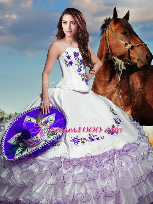 Sleeveless Floor Length Embroidery and Ruffled Layers Lace Up 15 Quinceanera Dress with White