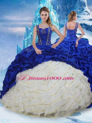 Designer Lace Up 15 Quinceanera Dress Blue And White for Military Ball and Sweet 16 and Quinceanera with Ruffled Layers and Pick Ups Brush Train