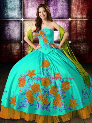 Deluxe Strapless Sleeveless Satin Ball Gown Prom Dress Embroidery Lace Up