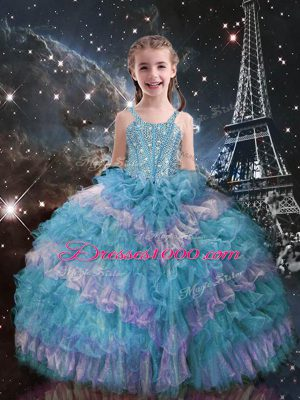 Cheap Teal Straps Neckline Beading and Ruffled Layers Kids Formal Wear Sleeveless Lace Up