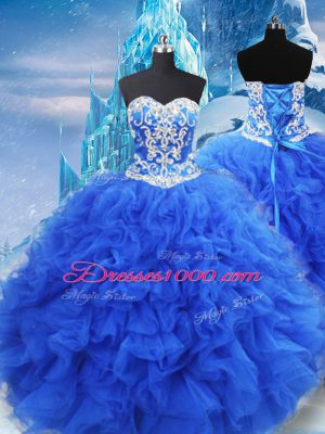 Affordable Sleeveless Organza Floor Length Lace Up Sweet 16 Dresses in Blue with Beading and Ruffles