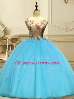 Baby Blue Scoop Neckline Appliques Sweet 16 Quinceanera Dress Sleeveless Lace Up