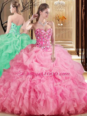 Rose Pink Organza Lace Up 15th Birthday Dress Sleeveless Brush Train Embroidery and Ruffles and Pick Ups
