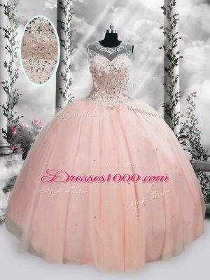 Floor Length Lace Up Quince Ball Gowns Pink for Military Ball and Sweet 16 and Quinceanera with Beading and Sequins