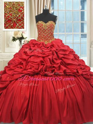 Fabulous Taffeta Sleeveless Sweet 16 Dress Brush Train and Beading and Pick Ups