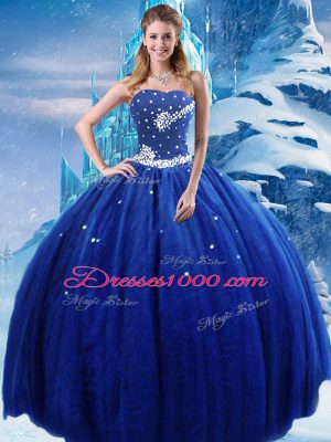 Deluxe Royal Blue Ball Gowns Strapless Sleeveless Tulle Floor Length Lace Up Beading Quinceanera Dresses