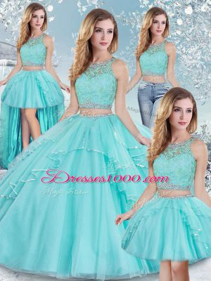 Traditional Aqua Blue Scoop Neckline Lace and Sequins Sweet 16 Dresses Sleeveless Clasp Handle