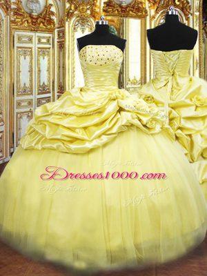 Taffeta Sleeveless Floor Length Sweet 16 Dress and Beading and Pick Ups