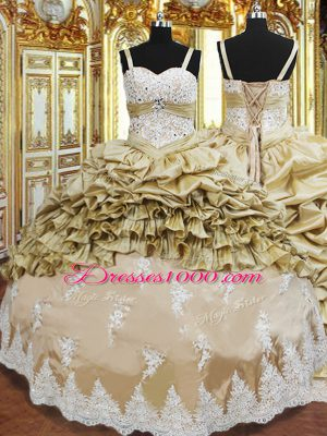 Luxurious Champagne Sleeveless Floor Length Beading and Appliques and Ruffled Layers and Pick Ups Lace Up Sweet 16 Dress