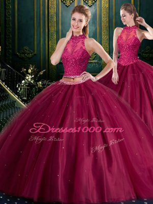 Ideal High-neck Sleeveless Lace Up 15 Quinceanera Dress Burgundy Tulle