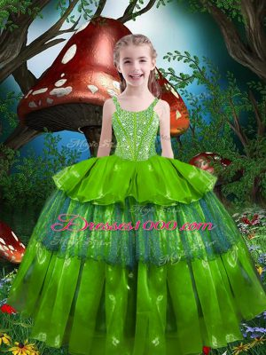 Trendy Sleeveless Floor Length Beading and Ruffled Layers Lace Up Kids Formal Wear