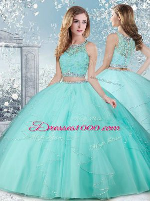 Simple Aqua Blue Sleeveless Floor Length Beading Clasp Handle Quinceanera Dress