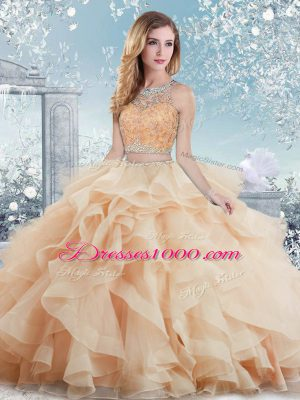 Colorful Peach Ball Gowns Organza Scoop Sleeveless Beading and Ruffles Floor Length Clasp Handle Quinceanera Gowns