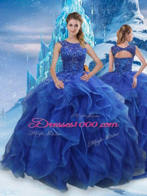 Blue Sleeveless Floor Length Beading and Ruffles Lace Up Ball Gown Prom Dress