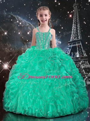 Hot Selling Beading and Ruffles Little Girl Pageant Dress Turquoise Lace Up Sleeveless Floor Length