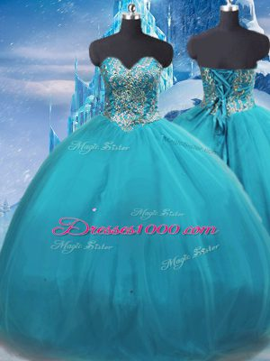 Latest Teal Sweetheart Neckline Appliques Vestidos de Quinceanera Sleeveless Lace Up