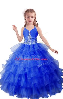 New Style Blue Little Girl Pageant Gowns Quinceanera and Wedding Party with Beading and Ruffled Layers V-neck Sleeveless Zipper