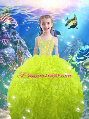 Ball Gowns Straps Sleeveless Organza Floor Length Lace Up Beading and Ruffles Little Girl Pageant Dress