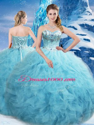 Floor Length Lace Up Ball Gown Prom Dress Aqua Blue for Military Ball and Sweet 16 and Quinceanera with Beading and Pick Ups