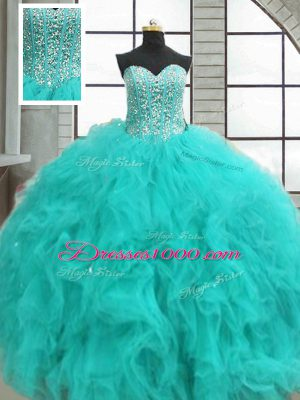 Turquoise Ball Gowns Sweetheart Sleeveless Organza Floor Length Lace Up Beading and Ruffles Quinceanera Gown