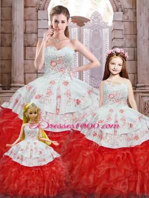 High Quality White And Red Sleeveless Organza Lace Up Quince Ball Gowns for Military Ball and Sweet 16 and Quinceanera
