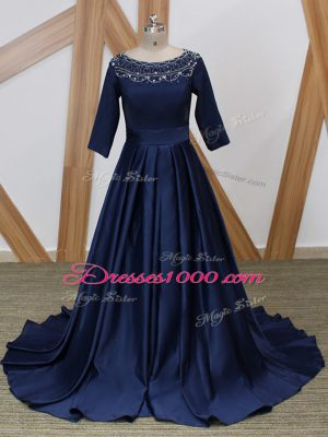 Ideal Navy Blue Satin Zipper Scoop 3 4 Length Sleeve Mother Dresses Brush Train Beading