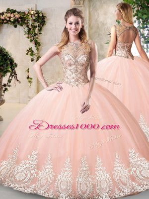 Dazzling Peach Backless Scoop Beading and Appliques 15 Quinceanera Dress Tulle Sleeveless