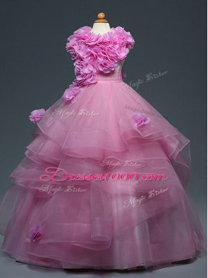 New Style Lilac Tulle Lace Up Party Dress for Girls Sleeveless Floor Length Ruffles and Hand Made Flower