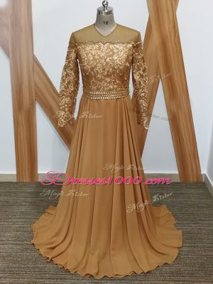 Lace Mother Dresses Brown Zipper Long Sleeves Brush Train