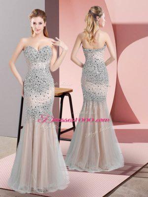 Cheap Floor Length Champagne Prom Evening Gown Sweetheart Sleeveless Zipper