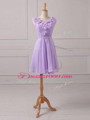 Lace and Appliques Vestidos de Damas Lavender Lace Up Sleeveless Mini Length