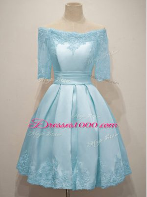 Light Blue Half Sleeves Taffeta Lace Up Bridesmaids Dress for Prom and Party and Wedding Party