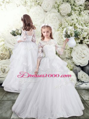 Clearance White Flower Girl Dress Tulle Brush Train Half Sleeves Lace and Ruffles