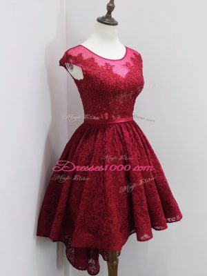 Wine Red Zipper Quinceanera Dama Dress Beading and Lace Cap Sleeves High Low