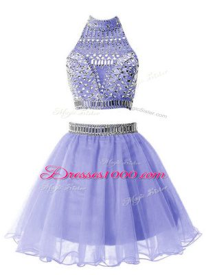 Lavender Zipper Court Dresses for Sweet 16 Beading Sleeveless Knee Length
