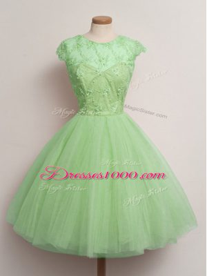 Suitable Cap Sleeves Tulle Knee Length Lace Up Bridesmaid Dresses in with Lace