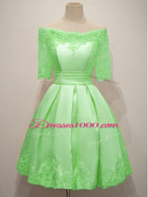A-line Taffeta Off The Shoulder Half Sleeves Lace Knee Length Lace Up Bridesmaid Dress