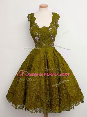 Low Price Olive Green Lace Up Bridesmaid Dresses Lace Sleeveless Knee Length