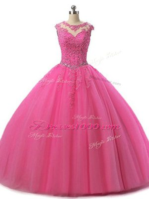 Stylish Hot Pink Ball Gown Prom Dress Military Ball and Sweet 16 and Quinceanera with Beading and Lace Scoop Sleeveless Lace Up