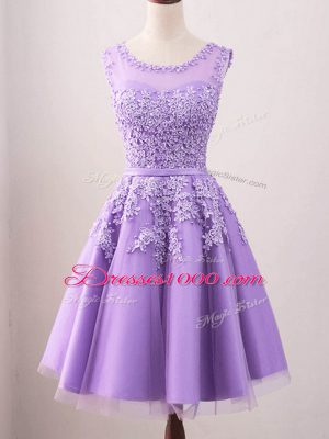 Attractive Knee Length A-line Sleeveless Lavender Bridesmaids Dress Lace Up