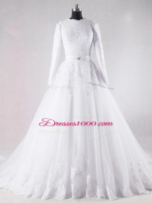 Designer Lace and Belt Wedding Dresses White Lace Up Long Sleeves Brush Train