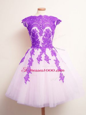 Tulle Sleeveless Mini Length Dama Dress for Quinceanera and Appliques